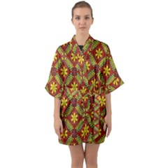 Abstract Floral Pattern Background Quarter Sleeve Kimono Robe