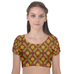 Abstract Floral Pattern Background Velvet Short Sleeve Crop Top