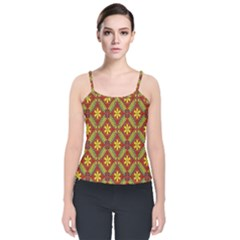 Abstract Floral Pattern Background Velvet Spaghetti Strap Top