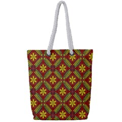 Abstract Floral Pattern Background Full Print Rope Handle Tote (small)