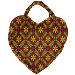 Abstract Floral Pattern Background Giant Heart Shaped Tote