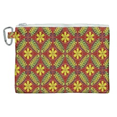 Abstract Floral Pattern Background Canvas Cosmetic Bag (xl)