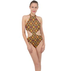 Abstract Floral Pattern Background Halter Side Cut Swimsuit