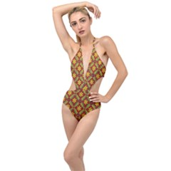 Abstract Floral Pattern Background Plunging Cut Out Swimsuit