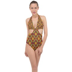 Abstract Floral Pattern Background Halter Front Plunge Swimsuit