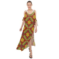 Abstract Floral Pattern Background Maxi Chiffon Cover Up Dress