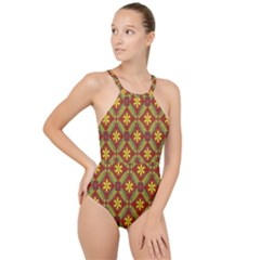 Abstract Floral Pattern Background High Neck One Piece Swimsuit