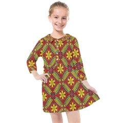 Abstract Floral Pattern Background Kids  Quarter Sleeve Shirt Dress