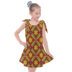 Abstract Floral Pattern Background Kids  Tie Up Tunic Dress