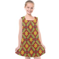 Abstract Floral Pattern Background Kids  Cross Back Dress