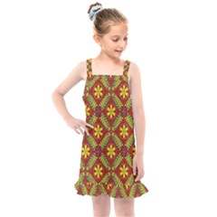 Abstract Floral Pattern Background Kids  Overall Dress
