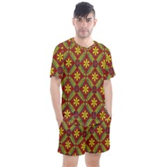 Abstract Floral Pattern Background Men s Mesh Tee And Shorts Set