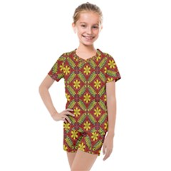 Abstract Floral Pattern Background Kids  Mesh Tee And Shorts Set by Alisyart