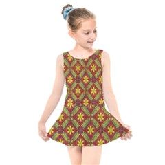Abstract Floral Pattern Background Kids  Skater Dress Swimsuit
