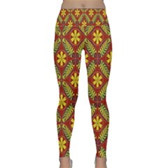Abstract Floral Pattern Background Lightweight Velour Classic Yoga Leggings