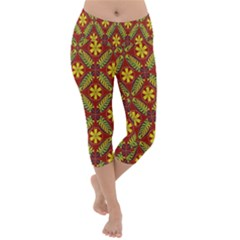 Abstract Floral Pattern Background Lightweight Velour Capri Yoga Leggings