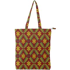 Abstract Floral Pattern Background Double Zip Up Tote Bag