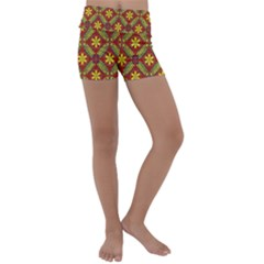 Abstract Floral Pattern Background Kids  Lightweight Velour Yoga Shorts