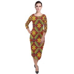 Abstract Floral Pattern Background Quarter Sleeve Midi Velour Bodycon Dress