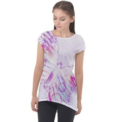 Colorful Butterfly Purple Cap Sleeve High Low Top
