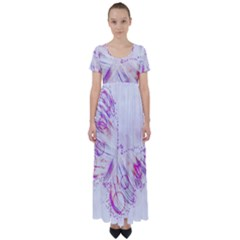 Colorful Butterfly Purple High Waist Short Sleeve Maxi Dress