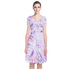 Colorful Butterfly Purple Short Sleeve Front Wrap Dress