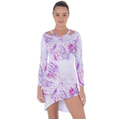 Colorful Butterfly Purple Asymmetric Cut Out Shift Dress by Mariart