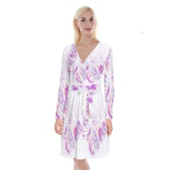 Colorful Butterfly Purple Long Sleeve Velvet Front Wrap Dress