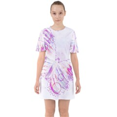 Colorful Butterfly Purple Sixties Short Sleeve Mini Dress