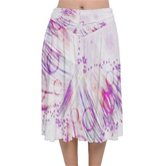 Colorful Butterfly Purple Velvet Flared Midi Skirt by Mariart