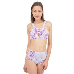 Colorful Butterfly Purple Cage Up Bikini Set