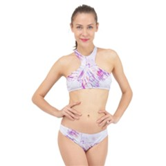 Colorful Butterfly Purple High Neck Bikini Set by Mariart
