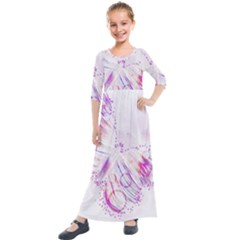 Colorful Butterfly Purple Kids  Quarter Sleeve Maxi Dress