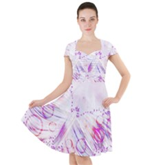 Colorful Butterfly Purple Cap Sleeve Midi Dress