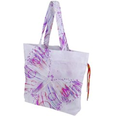 Colorful Butterfly Purple Drawstring Tote Bag