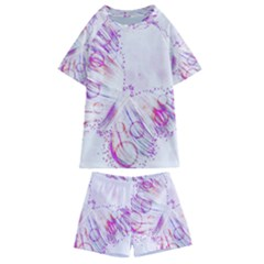 Colorful Butterfly Purple Kids  Swim Tee And Shorts Set