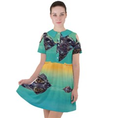 Amphibian Animal Short Sleeve Shoulder Cut Out Dress