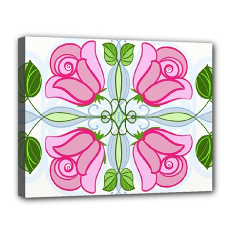 Figure Roses Flowers Ornament Canvas 14  X 11  (stretched)
