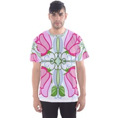 Figure Roses Flowers Ornament Men s Sports Mesh Tee