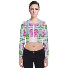 Figure Roses Flowers Ornament Zip Up Bomber Jacket