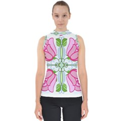 Figure Roses Flowers Ornament Mock Neck Shell Top