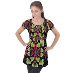 Pattern Berry Red Currant Plant Puff Sleeve Tunic Top by Bejoart