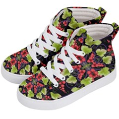 Pattern Berry Red Currant Plant Kid s Hi Top Skate Sneakers by Bejoart