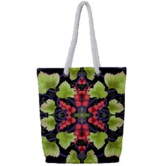 Pattern Berry Red Currant Plant Full Print Rope Handle Tote (small)