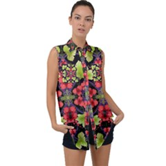 Pattern Berry Red Currant Plant Sleeveless Chiffon Button Shirt