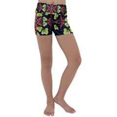Pattern Berry Red Currant Plant Kids  Lightweight Velour Yoga Shorts