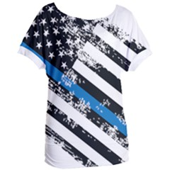Usa Flag The Thin Blue Line I Back The Blue Usa Flag Grunge On White Background Women s Oversized Tee