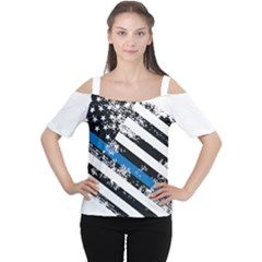 Usa Flag The Thin Blue Line I Back The Blue Usa Flag Grunge On White Background Cutout Shoulder Tee by snek