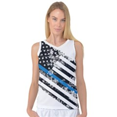 Usa Flag The Thin Blue Line I Back The Blue Usa Flag Grunge On White Background Women s Basketball Tank Top by snek