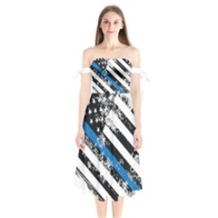 Usa Flag The Thin Blue Line I Back The Blue Usa Flag Grunge On White Background Shoulder Tie Bardot Midi Dress by snek